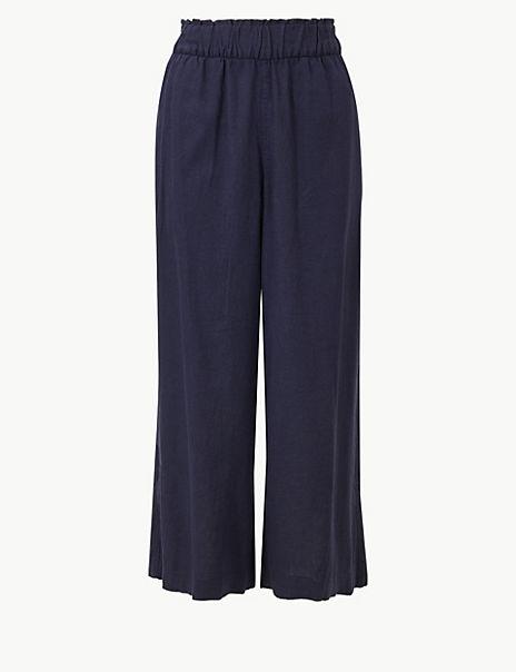 Linen Rich Wide Leg Cropped Trousers