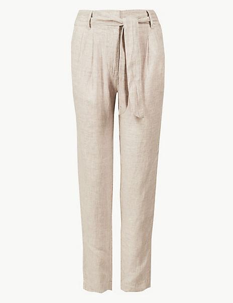 Pure Linen Ankle Grazer Peg Trousers