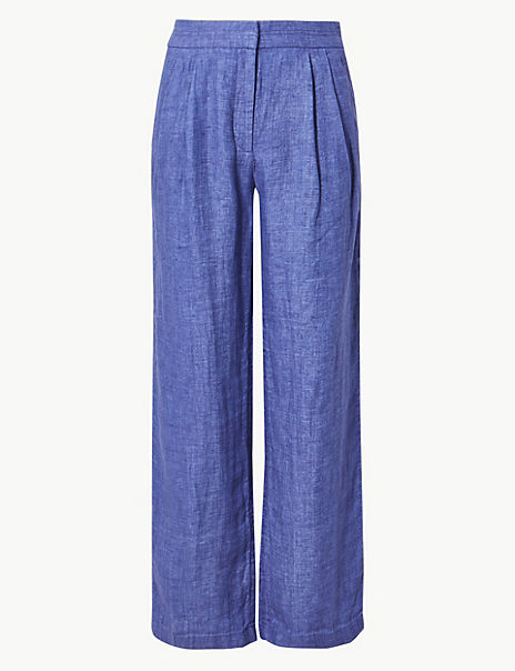 Pure Linen Textured Wide Leg Trousers