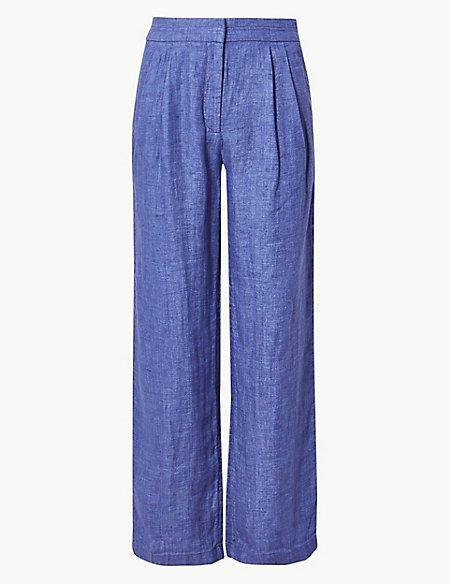 Pure Linen Textured Wide Leg Trousers