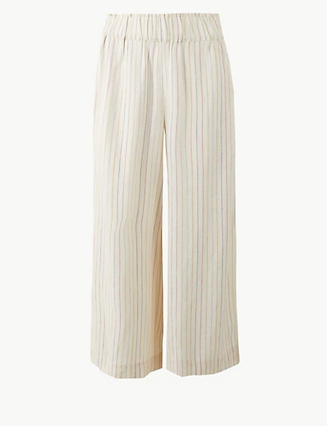 Linen Blend Striped Cropped Trousers
