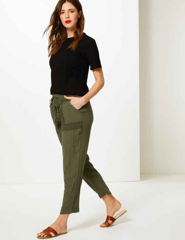 Embroidered Ankle Grazer Peg Trousers