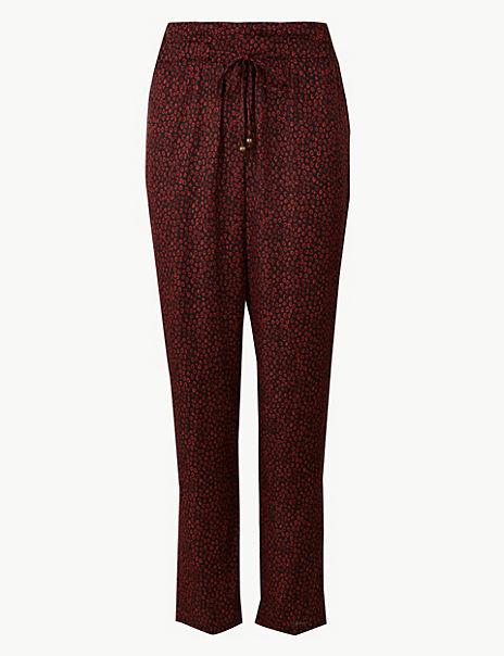 Satin Animal Print Ankle Grazer Peg Trousers