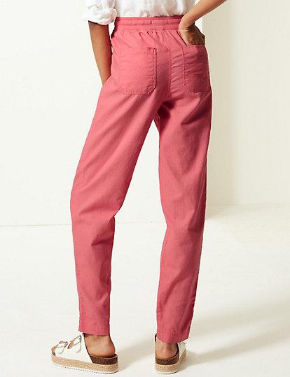 M/&S Sizes 6 8 10 12 16 18 20  Linen Rich Striped Tapered Leg Peg Trousers Bnwt