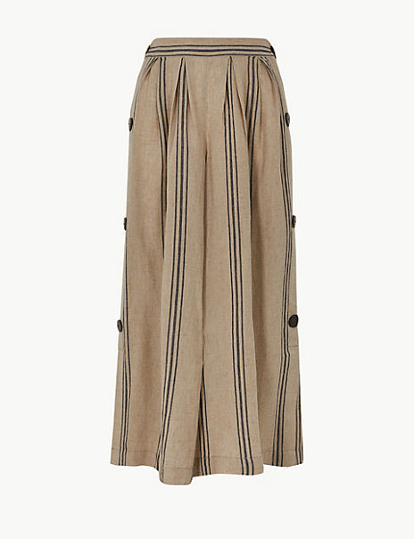 Linen Rich Striped Cropped Trousers