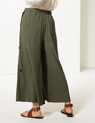 7568125674e ... Linen Rich Wide Leg Cropped Trousers. image. image