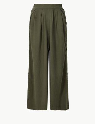 c02edaf990f3 Linen Rich Wide Leg Cropped Trousers £25.00