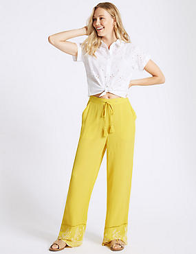 Embroidered Hem Wide Leg Flared Trousers