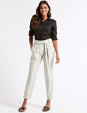 Linen Rich Striped Tie Waist Trousers