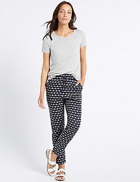 Geometric Print Tapered Peg Trousers