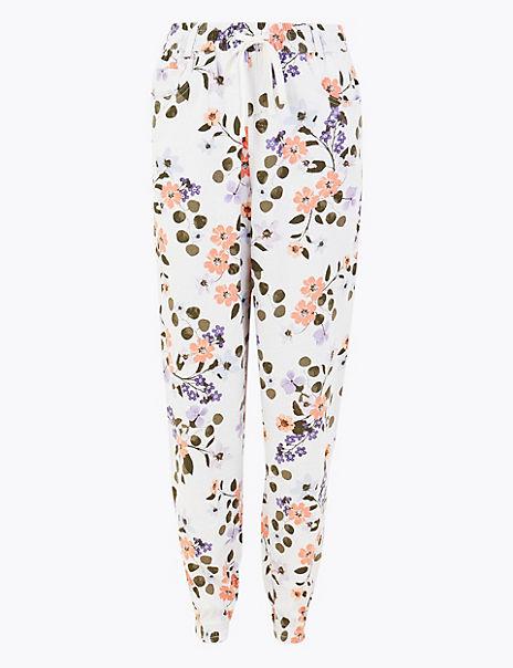 Linen Rich Floral Print Peg Trousers