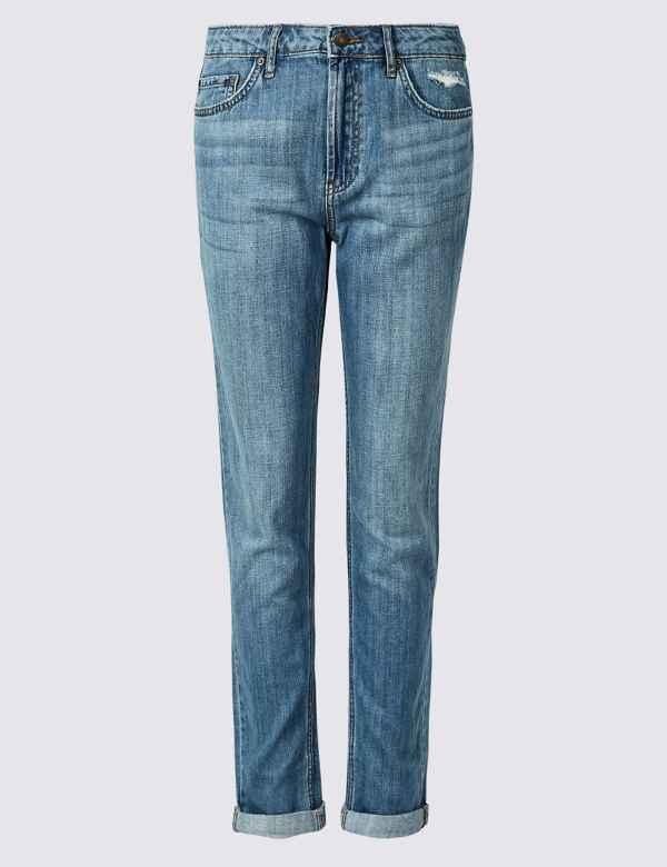 5d162a94198 Mid Rise Boyfriend Ankle Grazer Jeans
