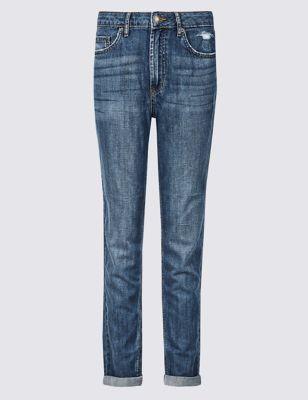 b94a74dec69 Mid Rise Boyfriend Ankle Grazer Jeans