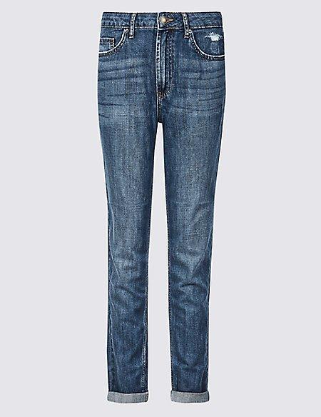 Mid Rise Boyfriend Ankle Grazer Jeans