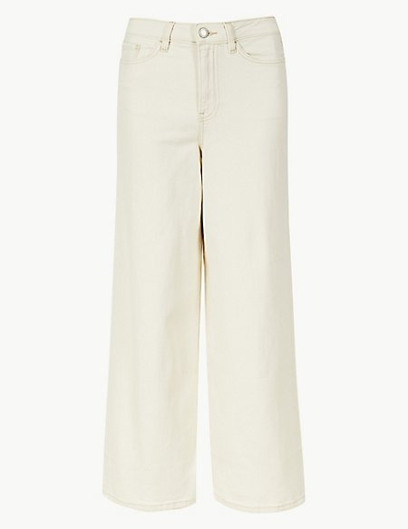 High Waist Wide Leg Cropped Jeans