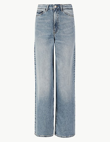Mid Rise Wide Leg Cropped Jeans