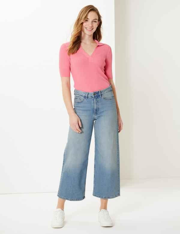 bd494e1bc0cf High Waist Wide Leg Cropped Jeans