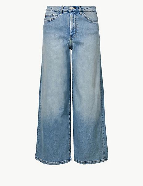 High Waist Wide Leg Cropped Jeans