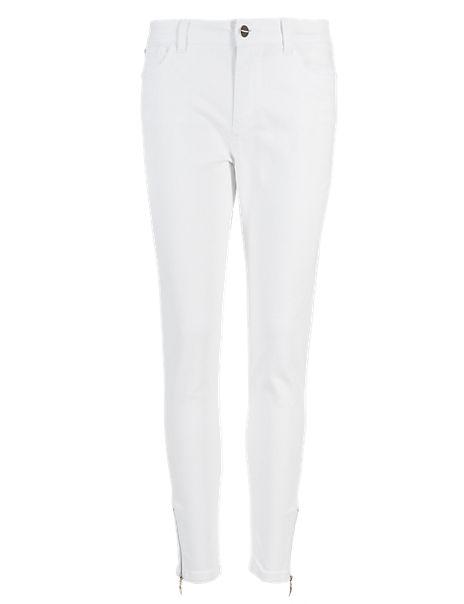 Zipped Hem Slim Fit 7/8 Jeans