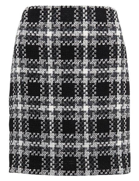 Monochrome Tartan Checked Mini Skirt with Wool