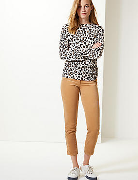 Cotton Rich Slim Leg Trousers