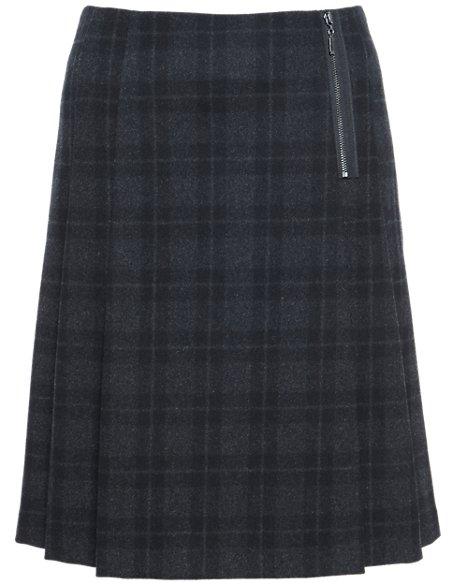 Checked Kilt Mini Skirt with New Wool