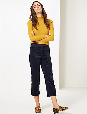Corduroy Straight Leg Cropped Trousers