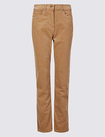 Corduroy Mid Rise Straight Leg Jeans