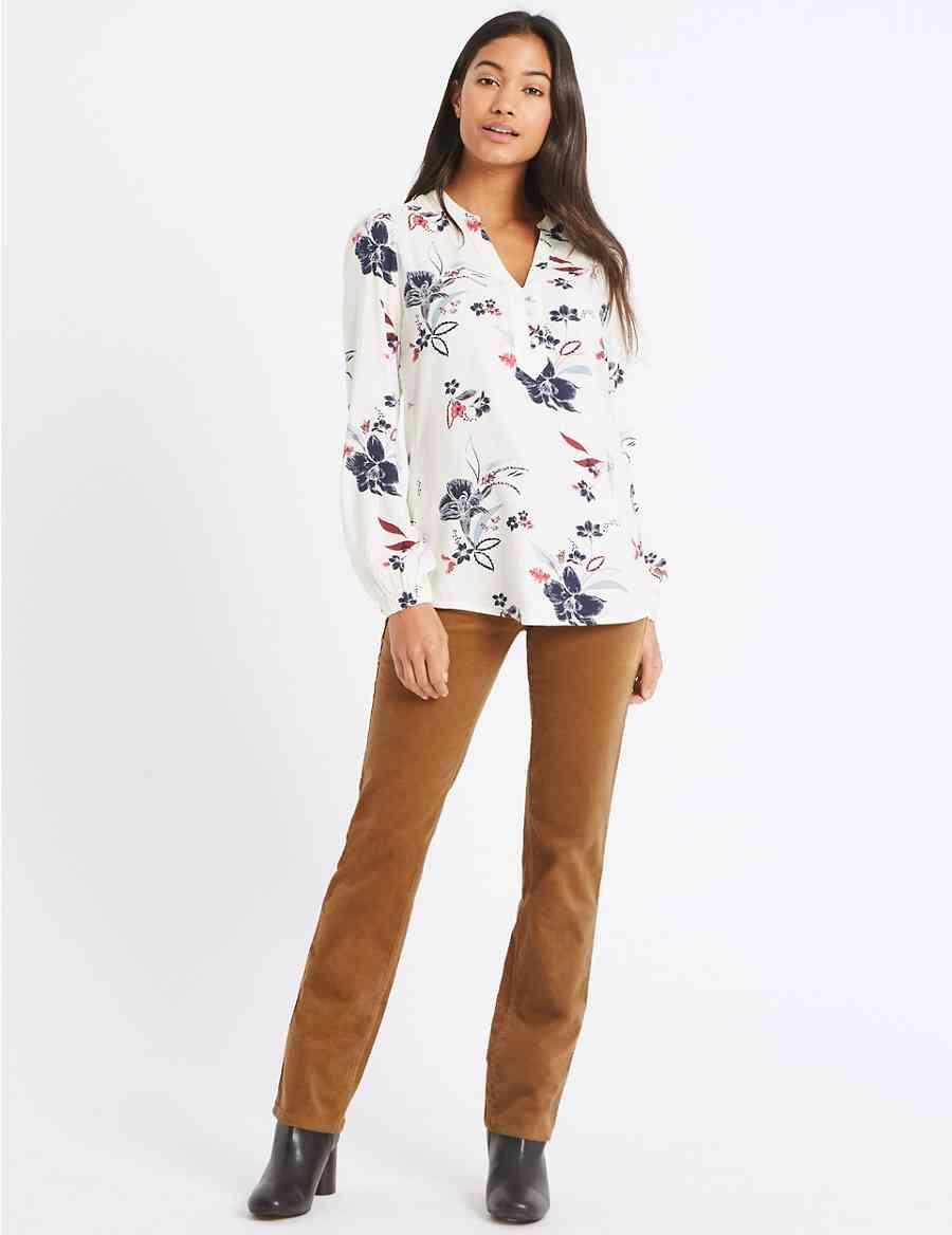 ce247db86f36e Cotton Rich Straight Leg Corduroy Trousers