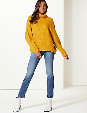 Mid Rise Straight Leg Jeans