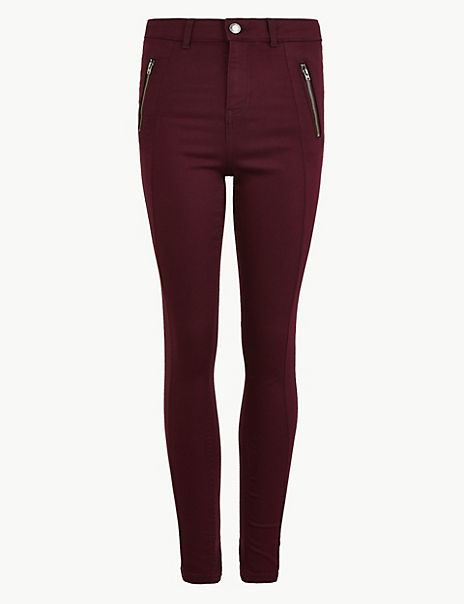 Cotton Twill Zip Detail Skinny Leg Trousers