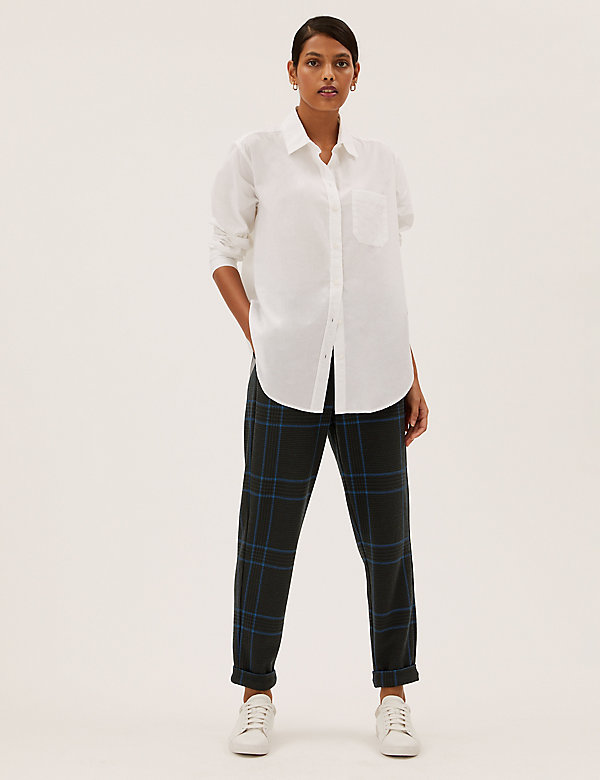 Checked Tapered Joggers with Cotton