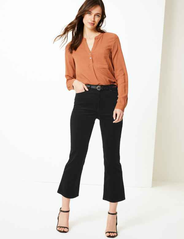 a1057c13a5513 Corduroy Bootcut Cropped Trousers