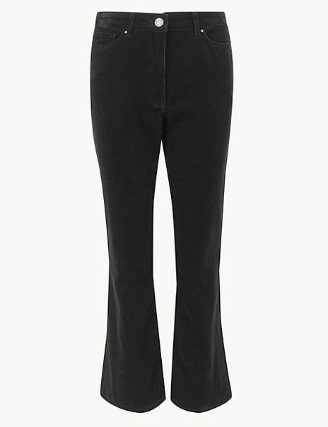 Corduroy Bootcut Cropped Trousers