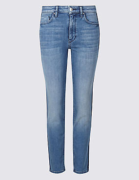 Mid Rise Straight Leg Cropped Jeans
