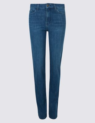 360 Contour Mid Rise Straight Leg Jeans by Marks & Spencer