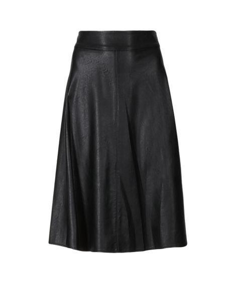 Faux Leather Panelled Skater Skirt