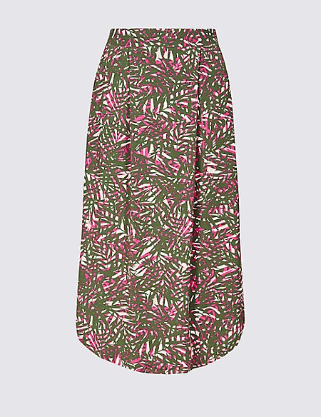 Printed Jersey A-Line Skirt
