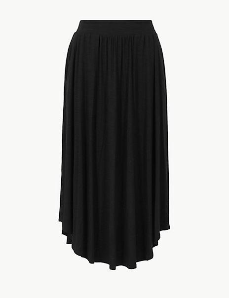 Jersey A-Line Midi Skirt