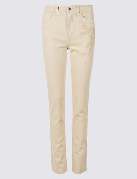 Embroidered Roma Rise Slim Leg Jeans
