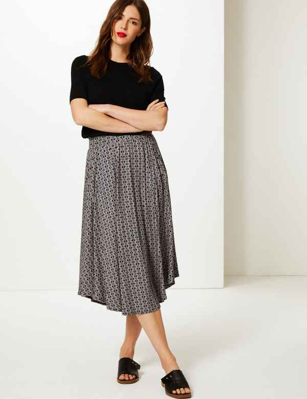 0d23f1cf48 Printed Jersey A-Line Midi Skirt. M&S Collection