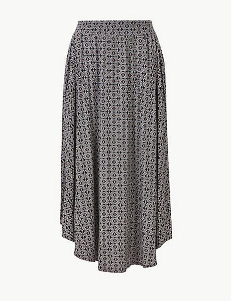Printed Jersey A-Line Midi Skirt