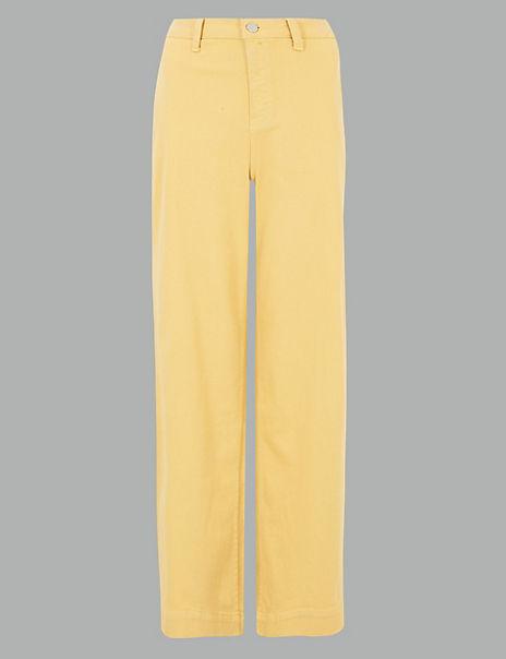 Mid Rise Wide Leg Ankle Grazer Jeans