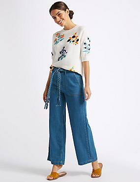 Wide Leg Plait Roma Rise Jeans