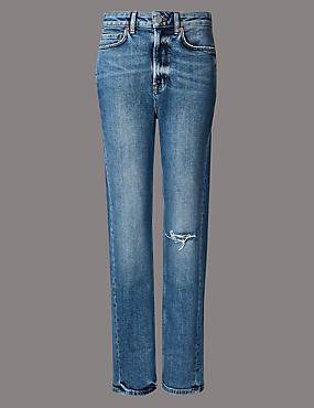 High Waist Ankle Straight Jeans