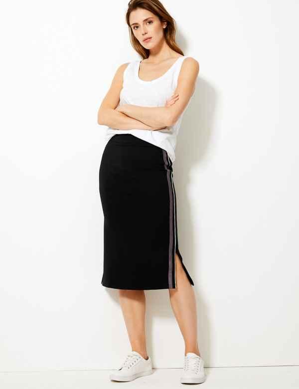 230e2bacf Side Stripe Jersey Pencil Midi Skirt