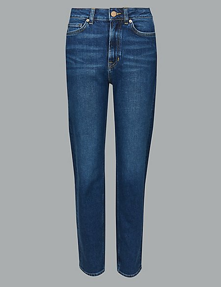 Straight Leg High Waist Ankle Grazer Jeans