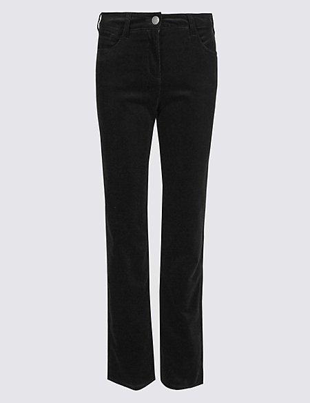 Cotton Rich Corduroy Straight Leg Trousers
