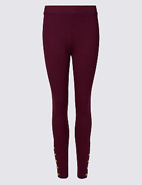 Popper Detail Leggings
