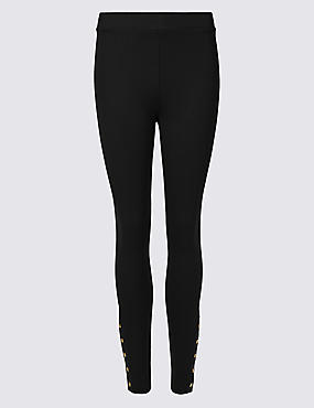 Super Skinny Leg Popper Detail Leggings